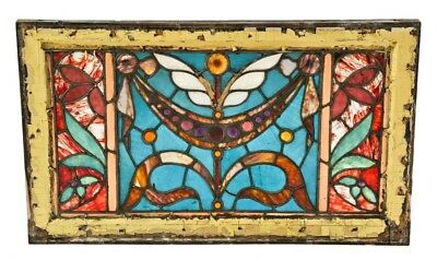 1880's Two Flat Antique American Victorian Stained Glass Window