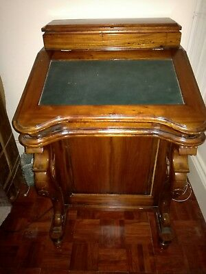 Mahogany Davenport Desk / Small Writing Desk With 8 side Drawers And Leather Top
