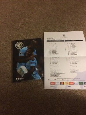 Manchester City V Napoli Programme And Team Sheet.