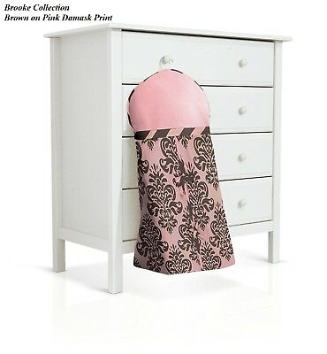 BananaFish Diaper Stacker Brooke Collection Brown on Pink Damask Print New Class