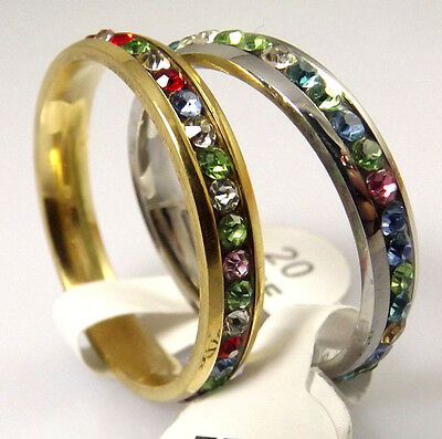 Wholesale 2 pcs Comfortable Stainless Steel Rings Full circle Color  with CZ