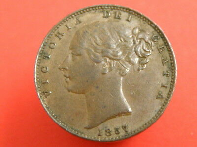 1857 Queen Victoria - COPPER FARTHING COIN - Young Head - Good Detail
