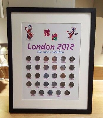 London 2012 complete 50p coin collection with frame. Wall display.