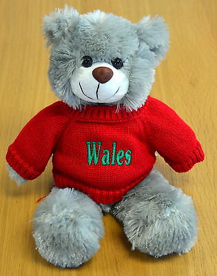 Supersoft WELSH SOUVENIR Grey TEDDY BEAR,  Wales, Cymru,