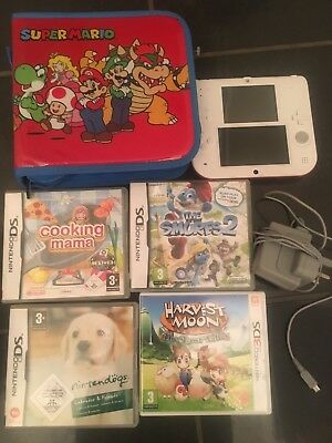 nintendo 2ds Tomodachi Lite With Case And 4 Games