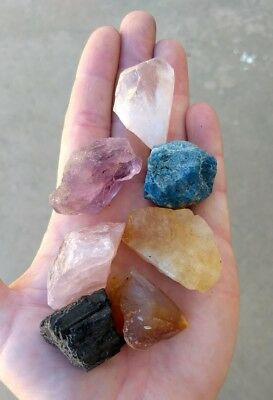 GemFarmer CS4: Medium 7 Stones Chakra Set Kit Seven Rough Natural Raw Crystals