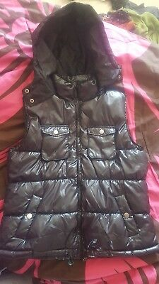 Faded Glory Black Puffy Vest with Hood Women's Size L (12-14)