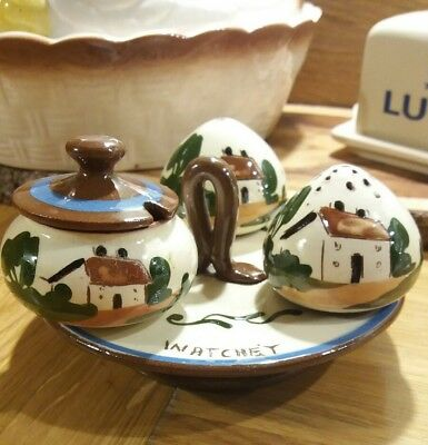 Torquay Devon Ware Pottery Cruet Set Vintage 50s Salt Pepper Mustard Watchet