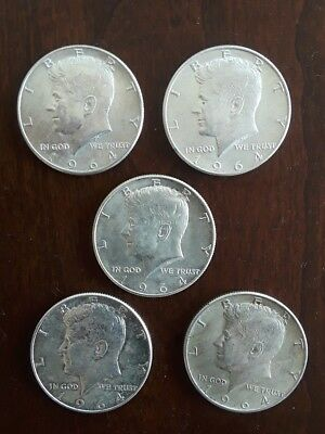 Lot of 5 1964 silver Kennedy Half Dollars.