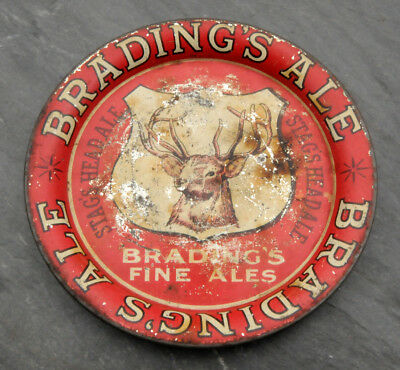 RARE 1930's Brading's Stag's Head Ale Canadian Beer Advertising Tip Tray