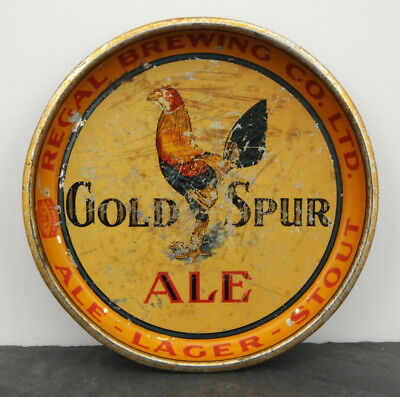 RARE 1940's Regal Brewing Gold Spur Ale Canadian Beer Advertising Serving Tray