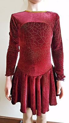 Ice Skating Dress Competition Wine /Gold Sparkly New Girls size 8-10 Custom Made