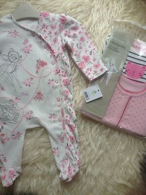 Stunning 0-3M New Tagged Bambi Sleepsuit/2 Pack New Sleepsuits Low/comb P&p 10P!