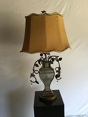 Matching pair Antique Mirrored lamps w/ decorative wrought iron scrolling.