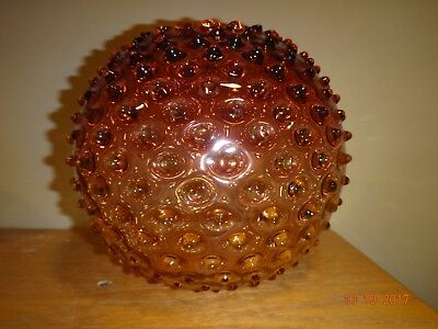 Vintage Hobbs Northwood Amberina Hobnail Giant Rose Bowl Art Glass 6 1/2""