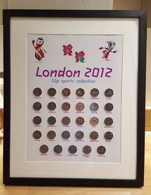 London 2012 Olympic 50p full set wall display print. Album art. New design.