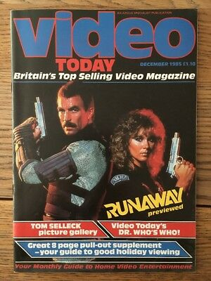 Video Today Magazine December '85 Runaway, Tom Selleck, Dr Who, East Of Eden
