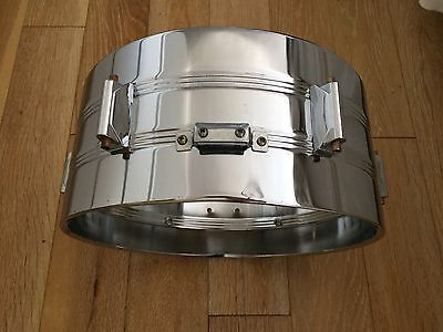 """14 X 6.5"""" Chrome  Steel Snare Drum Shell With Nut Boxes/ Lugs For Drum Kit"""