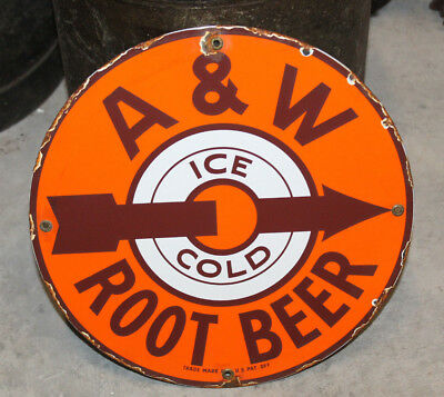 A & W Root Beer Porcelain Enamel Sign  Vintage Style Country Store Advertising