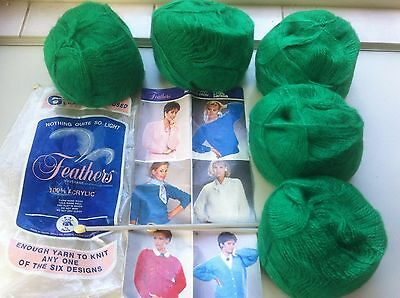 Vintage New Panda Feathers 100% acrylic yarn & knitting pattern kit.1 set needle