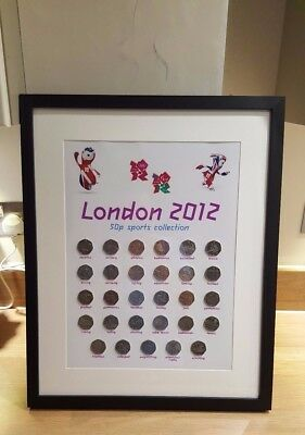 London 2012 Olympic 50p full set wall display print. Album art.