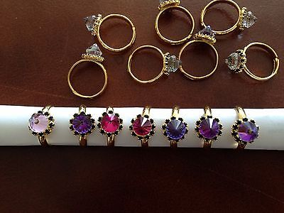 JOB LOT- 12 pcs womans diamonte rings.Gold plated. UK handmade.