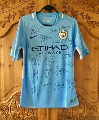 Full Team Signed Manchester City 2017/18 Home Shirt ~ Genuine Autographs and COA