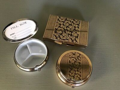 Lot of 3 Vintage Gold Tone Pill Boxes Compacts Made in Japan Original Packaging
