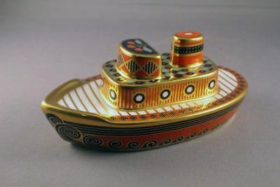 "Exceptional Royal Crown Derby ""treasures Of Childhood"" Tugboat - Perfect"