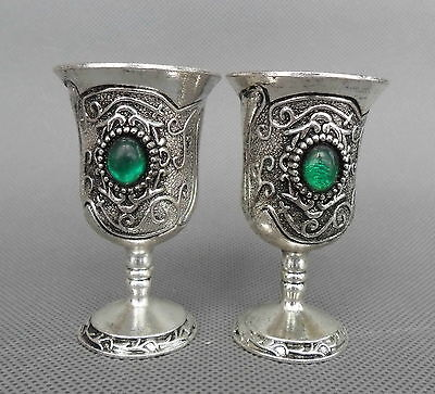 Collectable Handmade Miao Silver Carved Flower Rattan Inlay Bead Royal Wine Cups