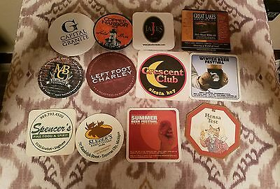 Lot 12 Beer/wine Coasters-Copper Harbor-Midland--Great Lakes-Left Foot Charley