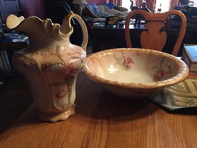 Antique Wash Basin And Pitcher-Stoke On Trent
