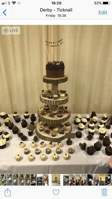 Wood Wedding Cake Stand - 4 Tier Wooden Logs Rustic