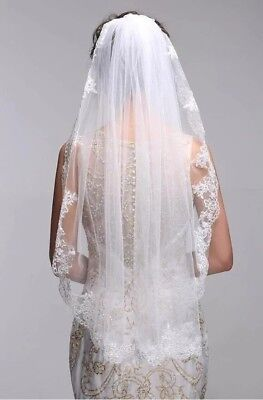 New Ivory Bridal Wedding Veils One Layer Lace Appliqued Edge Elbow Length