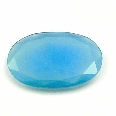 28.45 cts Huge Blue Chalcedony Oval Shape Both side Faceted Loose Gemstone U-82