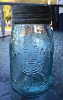 MASON'S CFJ Logo IMPROVED Antique Midget Pint Fruit Jar