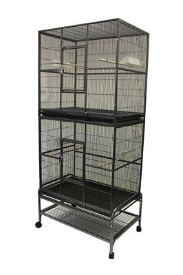 "32"" Double Stacked Flight Cage w/stand for Bird Parrot Dove Pigeon small animal"