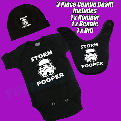 Storm Pooper. Star Wars Funny. Baby Romper, Beanie, Bib Combo Deal. Gift Set.