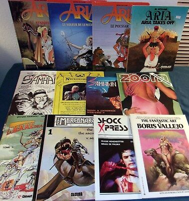 12 Horror/Fantasy Comic Magazines ARIA (X4)/Necronomicon/SAMHAIN/Shock Press