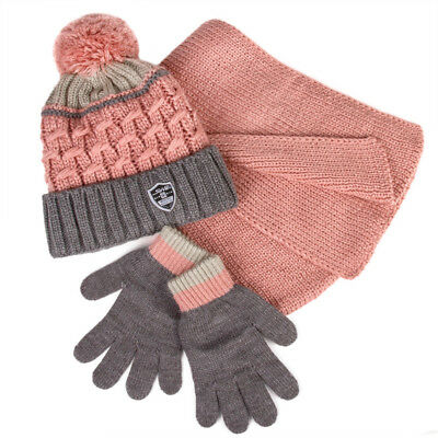 Girls' Pompom Hat, Scarf and Gloves Set Pink Gray 6-13 Years