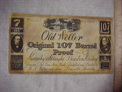 RARE 1970 OLD WELLER ORIGINAL 107 7yr KENTUCKY STRAIGHT BOURBON WHISKEY LABEL