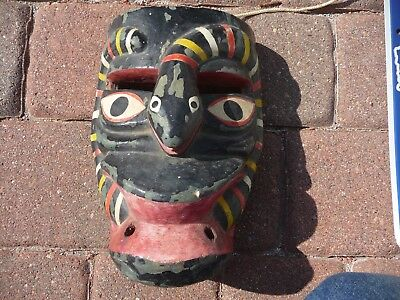 Vintage Mayan Face Mask Wood Hand Carved Snake Tribal Ceremonial Aztec Mexico