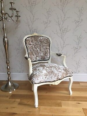 French Louis style Shabby Chic Cream Crushed Velvet Chair / cream wooden frame