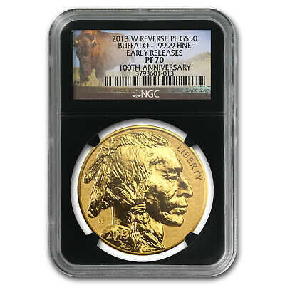 2013-W 1 oz Reverse Proof Gold Buffalo PF-70 NGC ER (Black Slab) - SKU #96333