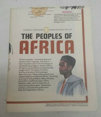 1971 The Peoples of Africa Two-Sided Map! National Geographic! Free Shipping!