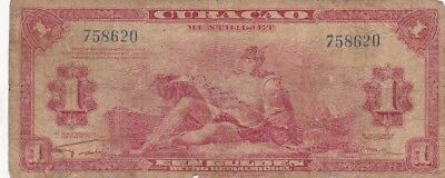 1942 Curacao 1 Gulden Note, Pick 35a