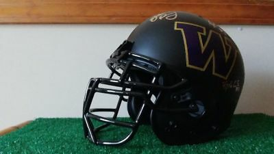 Washington Huskies Custom Autographed Matte Black full size Medium Helmet!