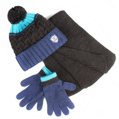Boys' Pompom Hat, Scarf and Gloves Set 6-13 Years Blue Gray