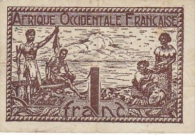 1944 French West Africa 1 Franc Note, Pick 34b