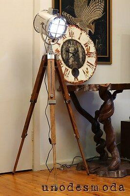 Designer Chrome SPOT LIGHT Floor Tripod LAMP industrial nautical marine style